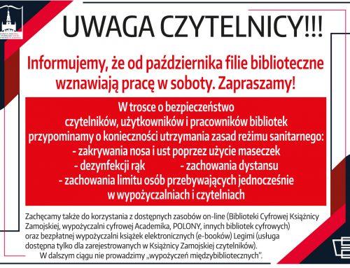 Praca Filii Bibliotecznych w sobotę